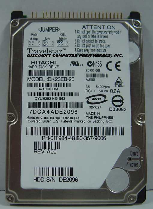 "20GB IDE 2.5"" Drive Hitachi DK23EB-20 Tested Good Free USA Ship Our Drives Work"