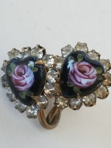Vintage Rose Heart With Stones Clip On Earrings - $8.41