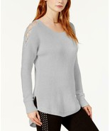$69.50 Bar III High-Low Cold-Shoulder Sweater, Large, Light Gray Heather - $25.39