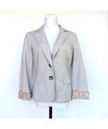 Maurices Ticking Stripe Blazer Floral Cuffs Button Front Womans Medium P... - $26.07