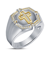 925 Silver 14K White Gold Plated Round Cut CZ Christmas Special Men's Cr... - $76.86