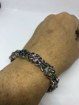 Vintage Genuine Mixed Tourmaline 925 Sterling Silver Bracelet - $381.15