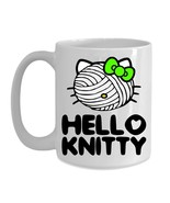 Knitting Mug Gift Hello Knitty Green Bow Funny Cute Cat Kitty Face Yarn ... - $19.36+