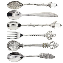 6 Pcs Vintage Royal Style Tableware Set Carved Cutlery Coffee Dessert Di... - $13.15
