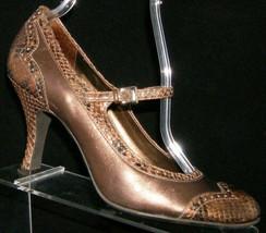 Franco Sarto bronze leather round toe buckle mary jane animal print heel... - $18.49