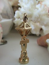 Vintage14K Solid Yellow Gold Lamp Post With Gem Charm/Pendant~Engraved~T... - $329.99