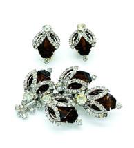 Vintage Mid Century Hobe Diamond & Smokey Quartz Crystal Rhinestone Jewe... - $116.99
