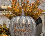 Pumpkin Season Planter Galvanized Metal Floral Display Fall Decor