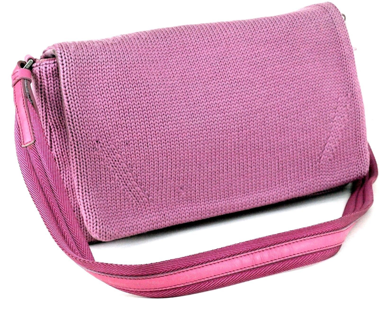 5e0db8375c21 S l1600. S l1600. Authentic Prada Milano Hot Pink Wool   Suede Leather  Shoulder Bag Purse Italy