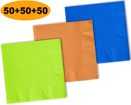 150 Beverage Napkins, Lime Green, Autumn Orange, Cobalt Blue - 50 Each C... - $12.99