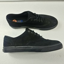 Polo Ralph Lauren Mens Vultan Wingtip Suede Shoes Black Leather Sneakers... - $74.76