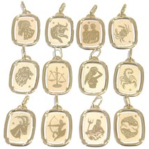 Pendant Yellow Gold 18K Sign The Zodiac Slab Engravable Cord Black - $156.95