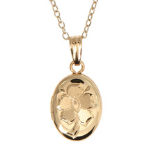 14kt Gold Filled Hand Carved Flower Child Oval Locket Necklace - $46.75