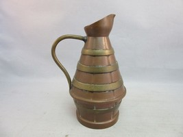 Vtg miniature copper pitcher with brass bands.Signed - $19.99