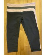 Lululemon Cropped Leggings Grey Gray Pink Size 10 Yoga Pants Womens USED - $28.72