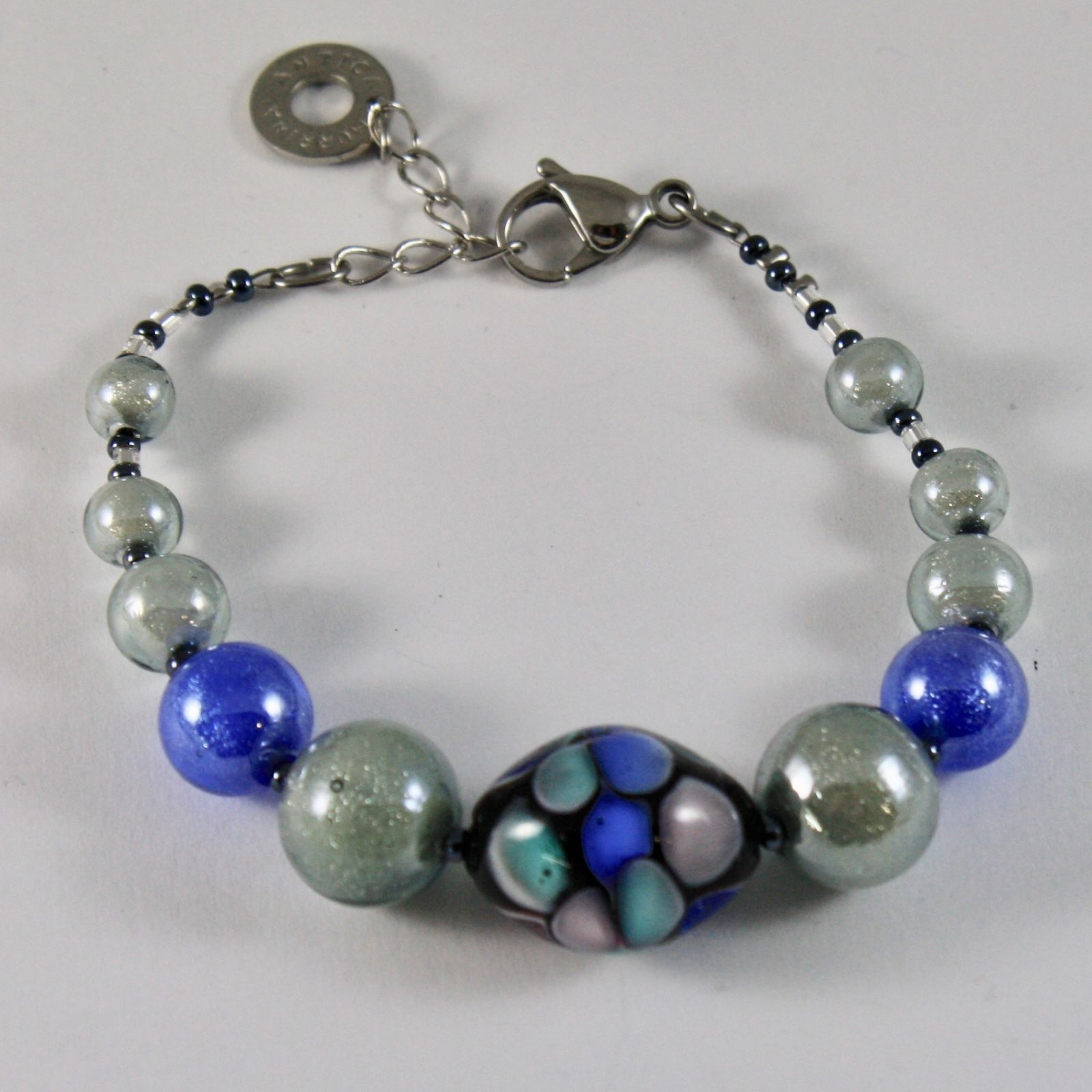 ANTICA MURRINA VENEZIA BRACELET WITH MURANO GLASS BEADS 7.5 INCHES LONG, BLUE