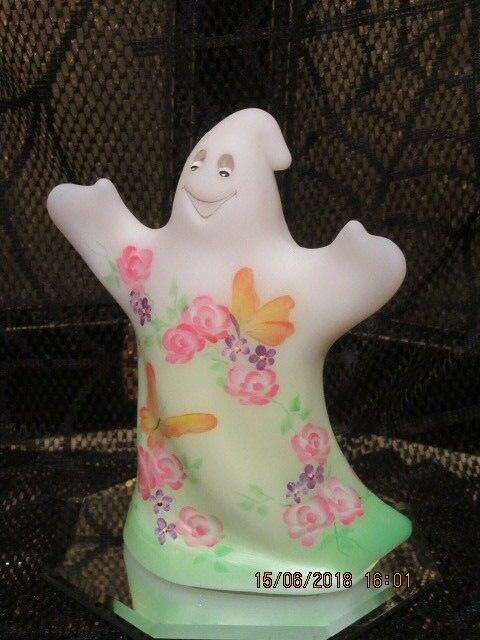 FENTON GLASS ROSES & BUTTERFLIES GHOST LE #4/10 GSE SIGNED BY FRANCES BURTON