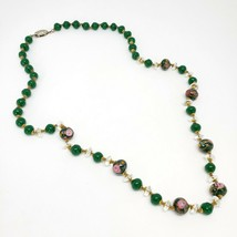 Italian Art Glass Wedding Cake Bead Necklace Green Venetian Murano Glass... - $49.97