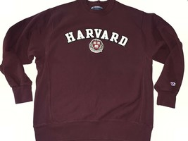 Champion Reverse Weave Sweatshirt Harvard Men's Size M Burgundy L/S Exc ... - $41.80