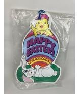 "VTG 90s Easter Cartoon Chick Egg Bunny 23"" Corrugated Plastic Yard Sign ... - $19.79"