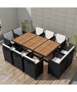 vidaXL Outdoor Dining Set 31 Piece Wicker Poly Rattan Black Glass Table ... - $897.99