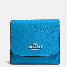 Nwt Coach Small Wallet In Crossgrain Leather 53716 Azure - $69.99
