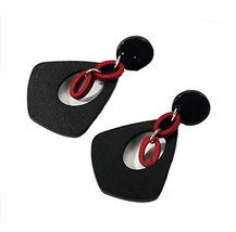 European Style Woody Individuality Earrings Asymmetric Earrings, Black