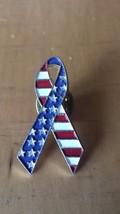 """US Flag Enamel Ribbon  Lapel Pin 1 1/2"""" x 3/4"""" - $12.86"""