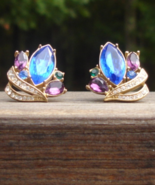 Vintage Crown Trifari Earrings, Jewels of India, Sapphire Blue, Amethyst... - $200.00