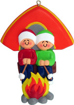 FAMILY OF 2 CAMPING GIRLS BOYS GRANDKIDS CAMPERS CHRISTMAS TREE ORNAMENT... - $11.73