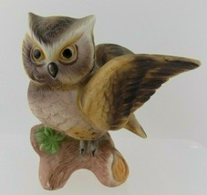 Vintage Horned Owl Figurine Porcelain Bisque Brown Flapping Wings Branch... - $17.81