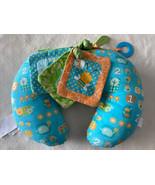 Boppy Tummy Time Activity Prop Pillow Blue Green Birds Fleece Crinkle Te... - $12.13