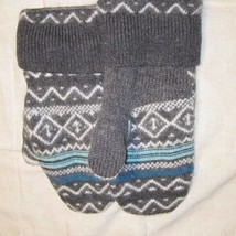 Recycled Handmade Wool Ladies Teens Mittens Gray/White/Blue Size M/L - $17.82