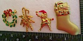 Vintage Christmas Pin Brooch Lot Gold-tone some w/enamel trim. Wreath Ca... - $6.99