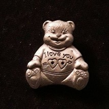 Vintage MS DEE I Love You Heart Teddy Bear Pewter Pin Brooch EUC - $9.49