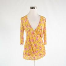 Yellow pink abstract 100% silk DIANE VON FURSTENBERG 3/4 sleeve blouse P - $34.99