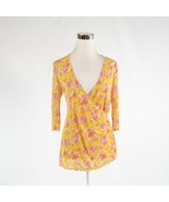 Yellow pink abstract 100% silk DIANE VON FURSTENBERG 3/4 sleeve blouse P - $34.99