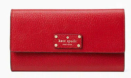 Kate Spade wellesley jean Flap Leather Wallet ~NWT~ Red - $74.25