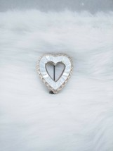 Signed Vintage West Germany Mirrored Heart Silvertone Brooch Pin - $14.99
