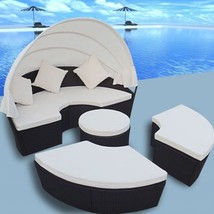 Patio Outdoor Sofa 2 in 1 Sunbed Round Daybed Retractable Canopy Rattan ... - $713.12