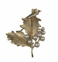 Vintage Crown Trifari Gold Tone And Faux Pearl Leaf Brooch - $24.74