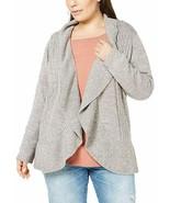 Karen Scott Women's Sweater Plus Cocoon Open Front Cardigan Grey 0X - $24.02