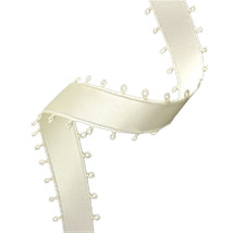 """3/8"""" Double Face Satin Picot Ribbon Feather Edge 50 Yds - Ivory - $5.93"""