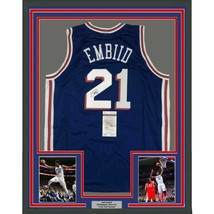 FRAMED Autographed/Signed JOEL EMBIID 33x42 Philadelphia Blue Jersey JSA... - $599.99