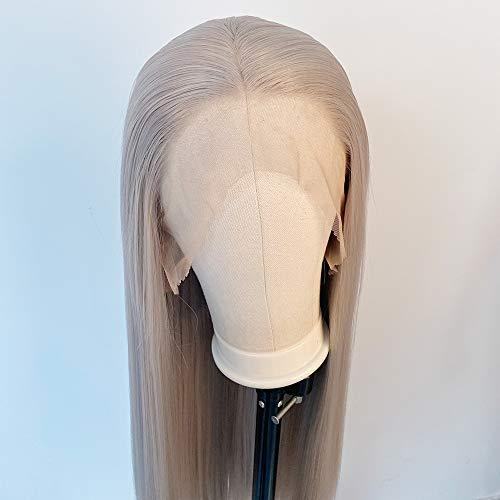 Silver Grey Wigs for Women Synthetic Lace Front Wig Long Straight Gray Wig Middl