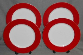 Set (4) Crate & Barrel RED BAND PATTERN Dinner Plates WHITE TRIM - $47.51