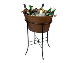 ANTIQUE COPPER PARTY TUB W STAND BEVERAGE COOLER ICE BUCKET WINE BEER DR... - $89.99