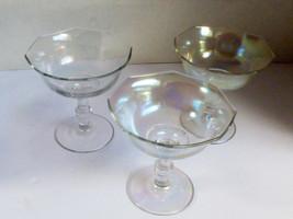 Set of 3 VTG Iridescent Clear Glass footed stemmed Cup Dessert Sherbet - $23.76