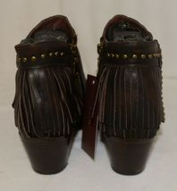Lucky And Blessed SH 11 Dark Brown Leather Boots Fringe Metal Studs Size 6 image 7