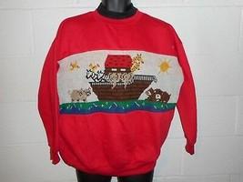 Vintage Noah's Ark Ugly Christmas Sweatshirt Sweater XL - $14.99